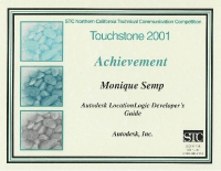 2001 – Achievement Award - Autodesk LocationLogic Content Concepts