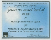 2005 – Merit Award – Autodesk LocationLogic BREW Geoservices Developer's Guide