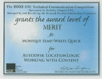 2005 – Merit Award - Autodesk LocationLogic Working with Content