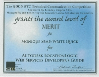 2005 – Merit Award - Autodesk LocationLogic Web Services Developer's Guide