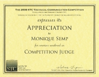 2008 – Award of Appreciation -STC Touchstone Competition Judge