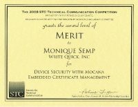 2008 – Merit Award – White paper:  Device Security with Mocana Embedded Certificate Management