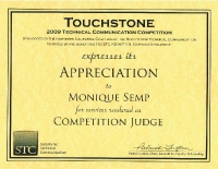 2009 – Award of Appreciation – STC Touchstone Competition Judge