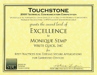 2009 – Excellence Award –  Best Practices for Testing Secure Applications for Embedded Devices
